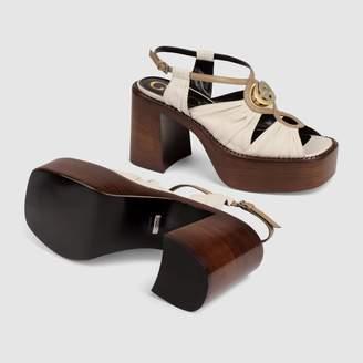Gucci Leather mid-heel platform sandal
