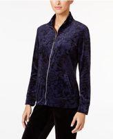 Karen Scott Printed Velour Jacket, Only at Macy's