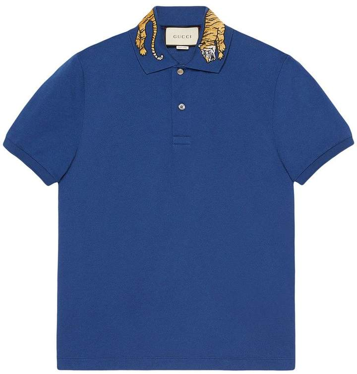 Gucci Cotton polo with tiger embroidery