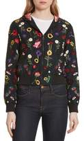 Alice + Olivia Women's Lonnie Embroidered Hooded Silk Bomber Jacket
