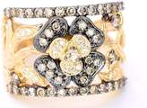 LeVian LE VIAN Chocolate and White Diamonds Band Ring 1ct (clarity SI1-SI2) 14k Yellow Gold Size 5.5