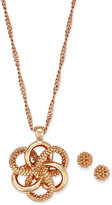 Charter Club Rose Gold-Tone Knot Pendant Necklace & Stud Earrings Set, Created for Macy's