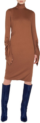 Akris Mock-Neck Draped-Sleeve A-Line Cashmere-Silk Jersey Dress