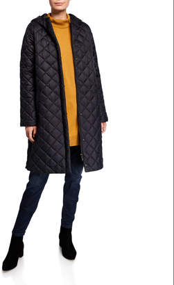 Eileen Fisher Hooded Recycled Nylon Diamond Quilted Coat