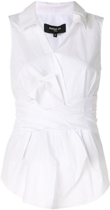Paule Ka Bow Detail Poplin Sleeveless Shirt