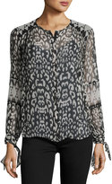 Rebecca Taylor Leopard-Print Long-Sleeve Blouse, Black/White