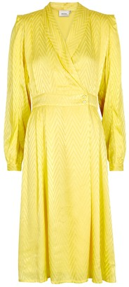 Gestuz Lynn Yellow Satin Jacquard Midi Dress
