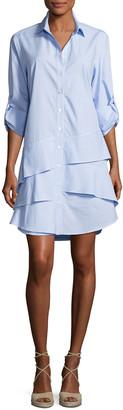 Finley Jenna Long-Sleeve Ruffle-Tiered Striped Shirtdress