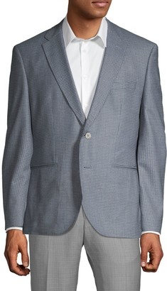 HUGO BOSS Gingham Regular-Fit Wool Jacket