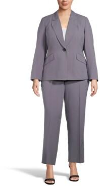 Le Suit Plus Size Pinstriped Pant Suit