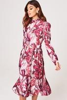 Little Mistress Marlowe Floral Long-Sleeve Belted Midi Dress