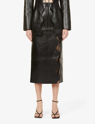 MATÉRIEL Wave high-waist faux-leather midi skirt