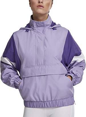 Urban Classic Women's Ladies Light 3-Tone Pull Over Jacket (Black/Ultraviolet/White 01552)