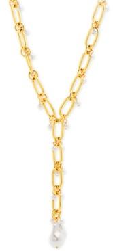 "Steve Madden Gold-Tone & Imitation Pearl Large Link Lariat Necklace, 18"" + 3"" extender"