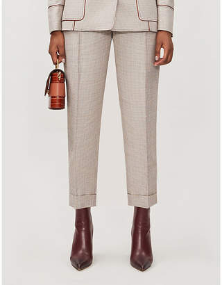 Peter Pilotto Checked tapered metallic-woven trousers