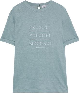 Brunello Cucinelli Bead-embellished Printed Slub Linen And Silk-blend T-shirt