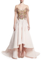 Marchesa Embroidered-Bodice High-Low Gown, Nude