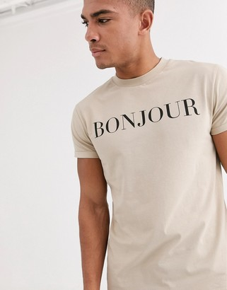 Asos Design DESIGN t-shirt with bonjour print and roll sleeve-Beige