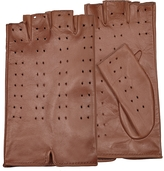 Forzieri Women's Tan Perforated Fingerless Leather Gloves