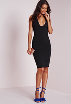 Missguided Square Plunge Midi Dress Black