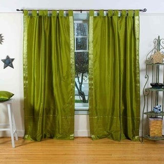 Indian Selections Olive Green Tab Top Sheer Sari Curtain / Drape / Panel - Piece