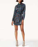 J.o.a. Striped Tie-Front Shirtdress