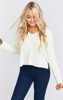MUMU Clique Crop Sweater ~ Silverstone Cable Knit