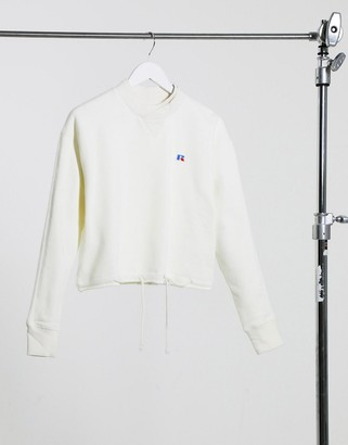 Russell Athletic fleece cropped sweatshirt in cream
