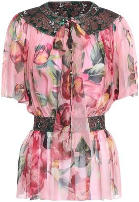 Dolce & Gabbana Pussy-bow Jacquard-paneled Silk-blend Chiffon Peplum Blouse