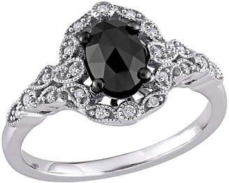 Black Diamond FINE JEWELRY Womens 1 CT. T.W. Genuine 14K White Gold Halo Engagement Ring