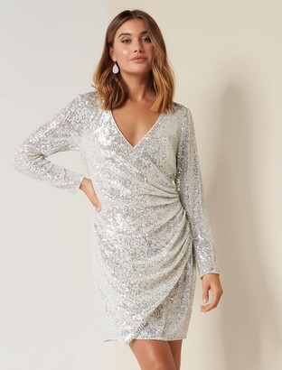 Forever New Jessica Long Sleeve Sequin Dress - Silver - 8