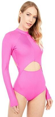 Rip Curl Premium Surf Good Long Sleeve Swimsuit (Black) Women's Swimsuits One Piece