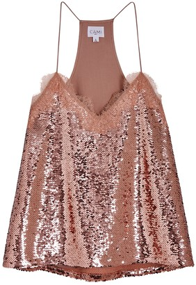CAMI NYC The Racer Lace-trimmed Sequin Top