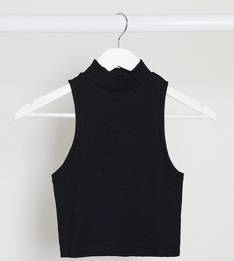 Asos DESIGN Petite sleeveless crop in cutabout rib with turtle neck in black