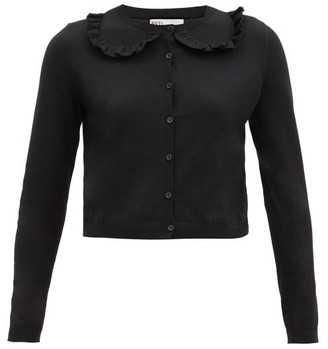 RED Valentino Ruffled Wool-blend Cardigan - Black