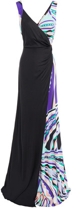 Emilio Pucci Wrap-effect Paneled Printed Silk-jersey Gown