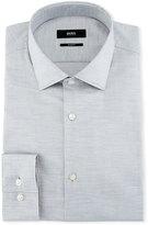 BOSS Mélange Slim-Fit Dress Shirt, Light Gray