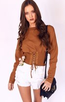 Beginning Boutique Kim Corset Cropped Sweater Rust