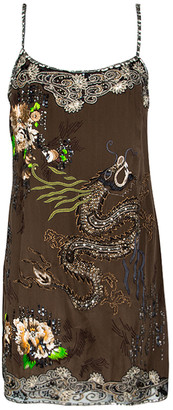 Blumarine Brown Dragon Embroidered Embellished Sleeveless Silk Tunic M