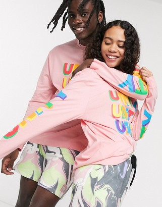 ASOS DESIGN x glaad& unisex oversized long sleeve t-shirt in pink unity print
