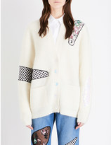 Christopher Kane Contrast-patch knitted cardigan