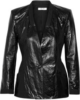 Helmut Lang Paneled leather and woven blazer