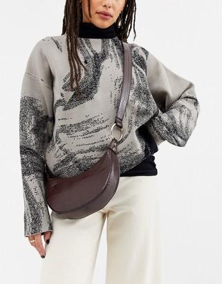 Asos Design DESIGN curved hobo cross body bag in croc-Brown
