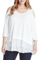 Karen Kane Plus Size Women's Tiered Hem Cold Shoulder Sweater