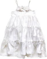 Sophie Catalou Girls' Casual Dresses White/silver - Silver Amelie Tiered Sleeveless Dress - Infant, Toddler & Girls