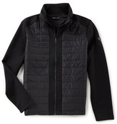 Michael Kors Woven Front Quilted Neoprene Full-Zip Jacket
