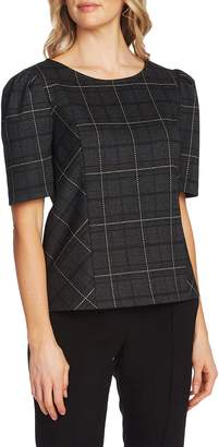 Vince Camuto Windowpane Plaid Puff Sleeve Blouse
