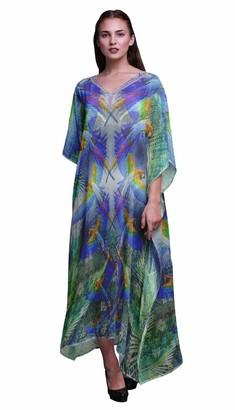 Phagun Branch & Colorful Parrot Bird Ladies Kaftan Holiday Loungewear Maxi Dress Beach Coverup-4X5X Royal Blue