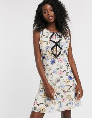 Urban Bliss adeline floral dress with stud front detail