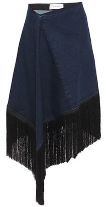 Marques Almeida Marques' Almeida Asymmetric Fringe-trimmed Denim Skirt